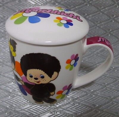 Monchhichi Ceramic Coffee Mug w/ Lid Boy & Girl Flowers 2007 Sekiguchi Korea HTF