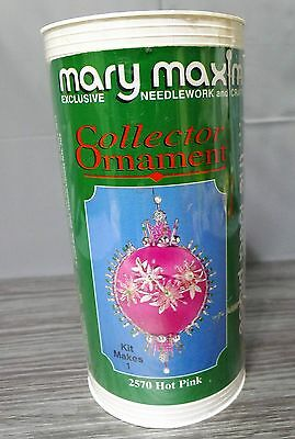 Mary Maxim Collector Christmas Ornament Kit Hot Pink Satin Beads Sequins #2570