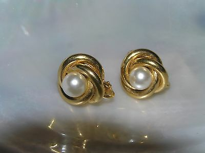 Estate Napier Signed Goldtone Knot with Faux White Pearl Bead Clip Screwback Ear