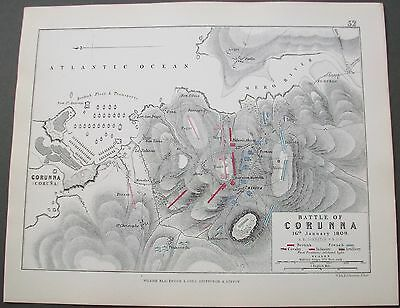 1855 Spain Battle Of Corunna 16 January 1809 Antique Alison Military Map
