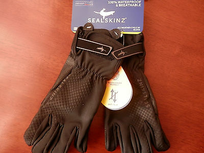 SEALSKINZ 100% Waterproof & Breathable cycling gloves LARGE/ BLACK