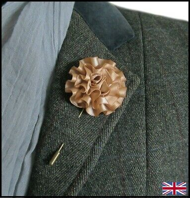 Gold / Coffee Carnation Flower Stick Pin. Hat or Lapel Pin. Buttonhole. wedding