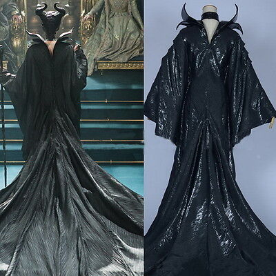 Maleficent Black Clothes Evil Queen Cosplay Halloween Costume Outfit Fancy Dress