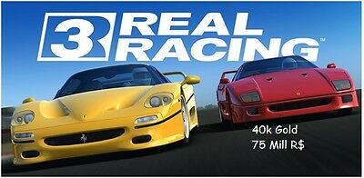 Real racing 3 BIG PACKAGE 40,000 Gold & 75 Mill Rs IOS & Android