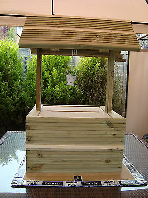 Wooden wedding wishing well unpainted extra large base free postage in the uk