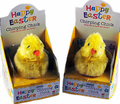 Set Of 2 Easter Chirping / Tweeting Sensor Activated Chick Pet