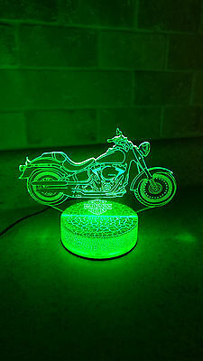 Harley Davidson Moto 3D illusion 7 Color LED Light Night Change Table Desk Lamp