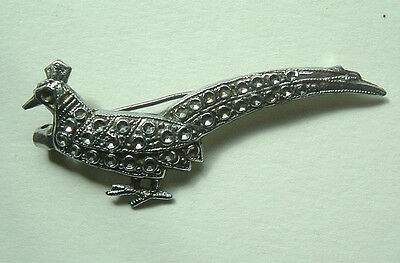 """1940s PRESSED PHEASANT BROOCH STAYBRITE 1 3/4"""" EXCELLENT CONDITION"""