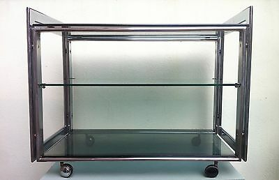 Mid-Century 3-tiers Smoked Glass Drinks Trolley Bar Cart Cocktail Baughman