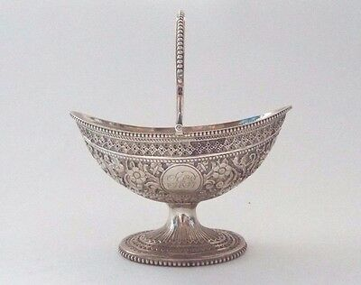 Table Basket English Flowers Georgian Revival Solid Sterling Silver London 1882
