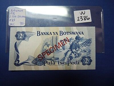 Banknote Botswana 1987  2 Pula   Specime Note  Cat Value 95.00   W2386