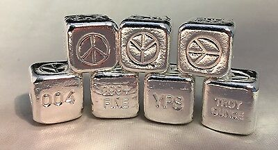 """YPS (Yeager) Prototype """"Peace"""" 1 Oz Hand-Poured .999 Silver Cube - Only 2 Made!"""