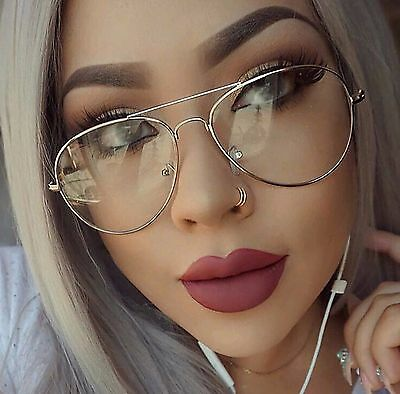 Unisex Classic Metal Aviator Pilot Clear Lens Glasses Prescription Frames