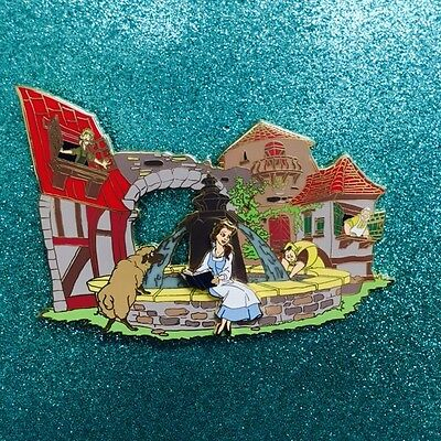 Belle Sitting Reading By Fountain With Sheep Jumbo Disney Fantasy Pin