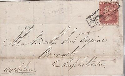 1857 QV WRAPPER WITH 1d RED STAMP TIED BY ANDERSTON SCOTS LOCAL CANCELLATION