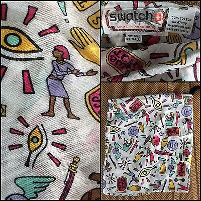 pOpArt SWATCH promo New Wave 80s Cotton Drawstring Pouch Hieroglyphics WATCH nos
