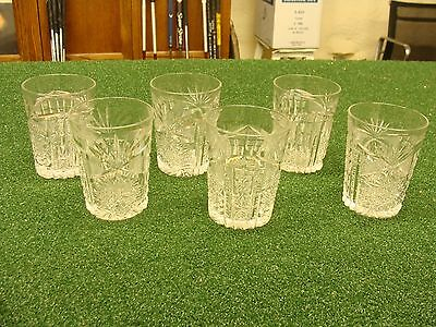 (6) Libby signed ABP American Brilliant cut glass whiskey tumblers SEE & READ