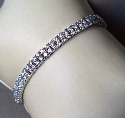 """Vintage - New Old Stock - """"diamond"""" Double Row  Sterling Silver Tennis  Bracelet"""