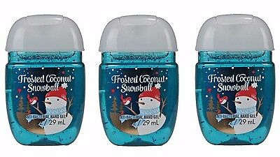 Bath & Body Works Hand Sanitizer PocketBac Frosted Coconut Snowball 3 Piece Set