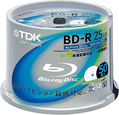 TDK Blu-ray Disc 50 Spindle - 25GB 4X BD-R - Printable - Japan Import