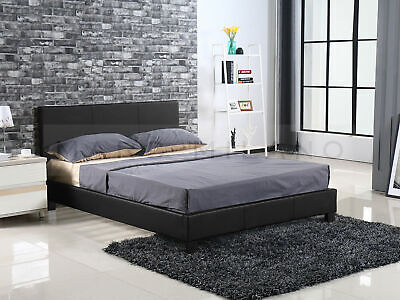 New Bed Frame Double or Queen Size White or Black Luxury PU Leather Grey Fabric