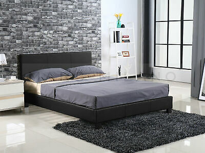 New Double or Queen Size Bed Frame White or Black Luxury PU Leather Grey Fabric