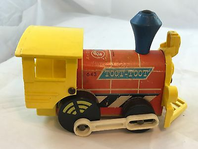 Fisher Price Toot Toot Wooden Train Engine Pull Toy 1964 #643