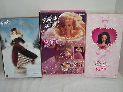 Lot of 3 Mattel Barbies~Twinkle Lights~Victorian Ice Skater~Sweet Valentine~NRFB