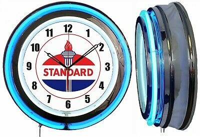 "19"" Double Neon Clock Standard Oil Gas Vintage Style Sign Chrome Finish"