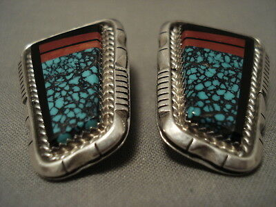 Opulent Vintage Navajo Lone Mountain Turquoise Silver Yellowho Silver Earrings