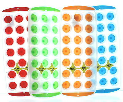 4 Easy Push Pop Out Round Mini Ice Cube Trays With Flexible Silicone Bottoms