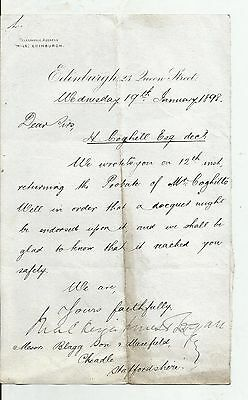 Two Letters dated 1898 concerning the deceased estate of H Cogill Esq