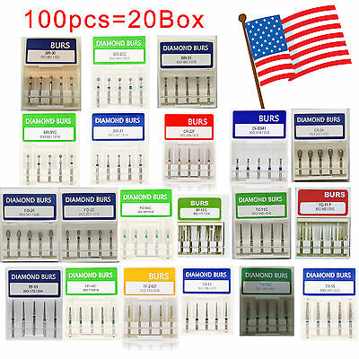100 Pcs Dental Diamond Burs For High Speed Handpiece Medium FG 1.6mm From US USA