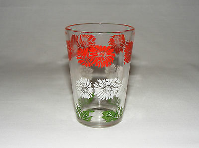 ANTIQUE 1930's GLASS TUMBLER  SWANKY SWIG  ~  RED WHITE GREEN FLORAL