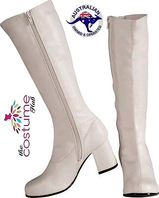 WHITE GoGo 60s 70s Boots Ladies Hippie Retro Fancy Dress Size 5-6 AU