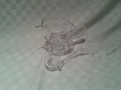 Vintage Glass Gravy Boat with Ladle