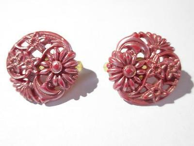 Vintage Carved Celluloid Floral Purple Pearlized Plastic Dress Clips 1950 Early