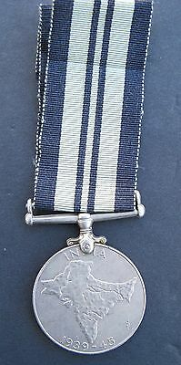 Original Ww2 Wwii British India Service Medal Full Size Unnamed Uncleaned W/rib.