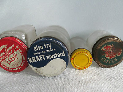 Vintage Metal Lids/Jars Advertising Logo Delmonte, Kraft, Lake Shore. & Franks