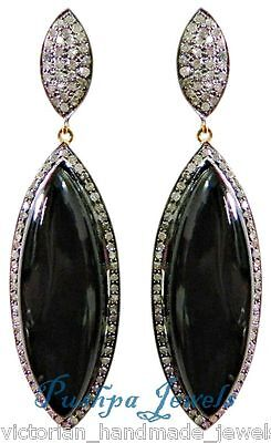 Victorian 2.00ctw Rose Cut Pave Diamond Sterling Silver Black Spinal Earring