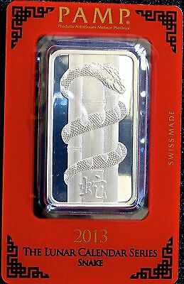 1 Oz .999 Silver Bar - Pamp Suisse (Year Of The Snake) 2013