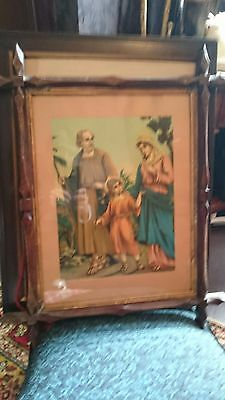Antique picture frame with religious picture