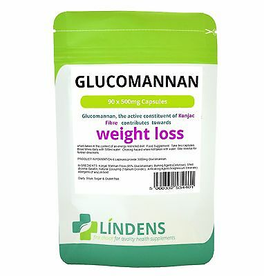 Glucomannan 500mg ( Konjac Fibre ) **90 Capsules** Weight Loss - Lindens