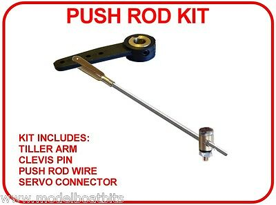 Model Boat Push Rod Kit ( Rudder-Tiller, Clevis, Push Rod Wire & Connector
