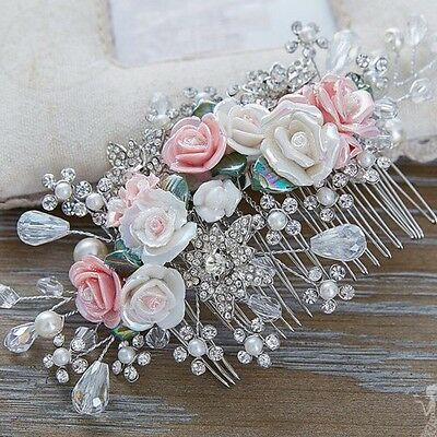 Bridesmaid Bridal Wedding Silver Austrian Crystal Pink & White Rose Hair Comb