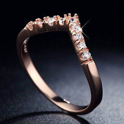 18CT ROSE GOLD GF Simulated Diamond SOLID ETERNITY WEDDING WOMENS WAVE BAND RING