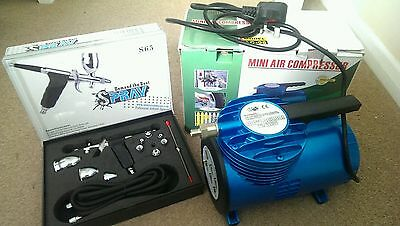 mini air compressor - never been used. Professional airbrush and kit