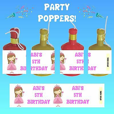 Birthday Personalised Party Poppers Wrappers Favours - Princess Brown