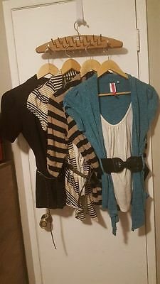 LOT of 4 2fer Blouse Cardigan Combos with Belts M