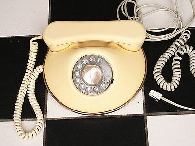 Vintage Phone Retro 1960s Round Cream Ivory white dial Telephone Made in U.K.